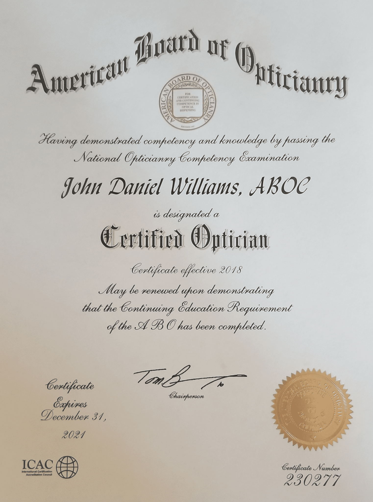 John Williams Certified Optician Williams Eye Works